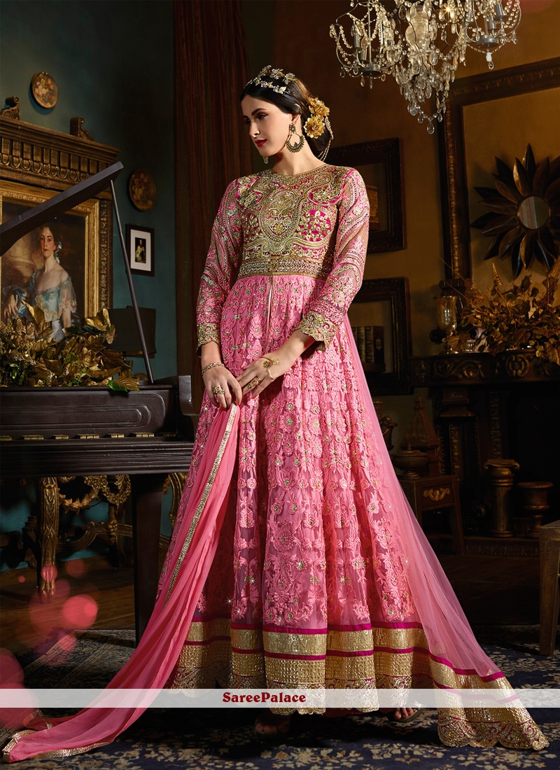 6721f15f48 Buy Splendid Rose Pink Resham Work Banglori Silk Anarkali Salwar Kameez  Online