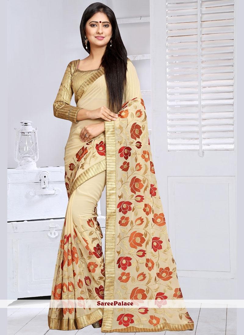 f5ce696f1eae0 Buy Staggering Beige Lace Work Faux Georgette Saree Online