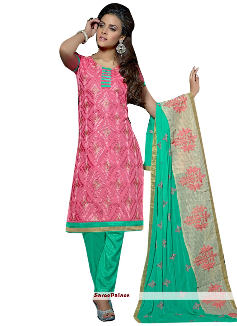 Staggering Lace Work Chanderi Churidar Suit