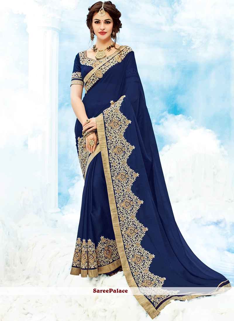 5c8f6a294 Buy Staggering Navy Blue Saree Online