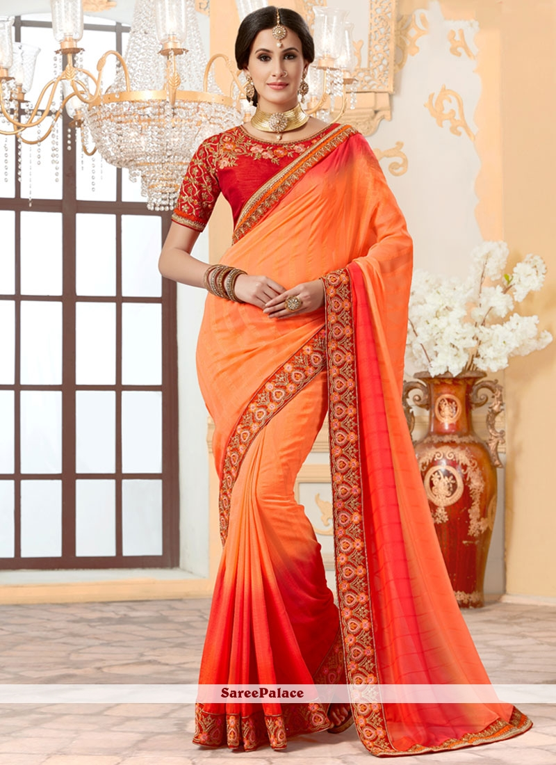 Staggering Orange and Red Designer Traditional Saree