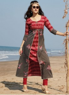 Staggering Print Work Party Wear Kurti