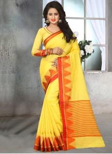 Staggering Yellow Thread Work Designer Saree