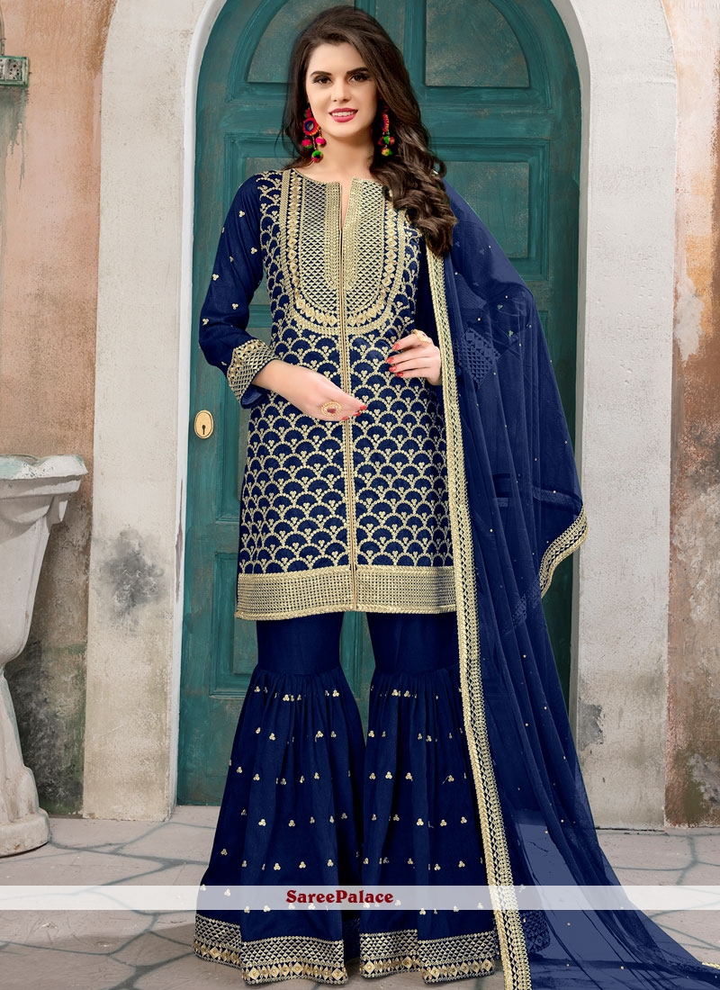 Staring Lace Work Blue Designer Pakistani Suit