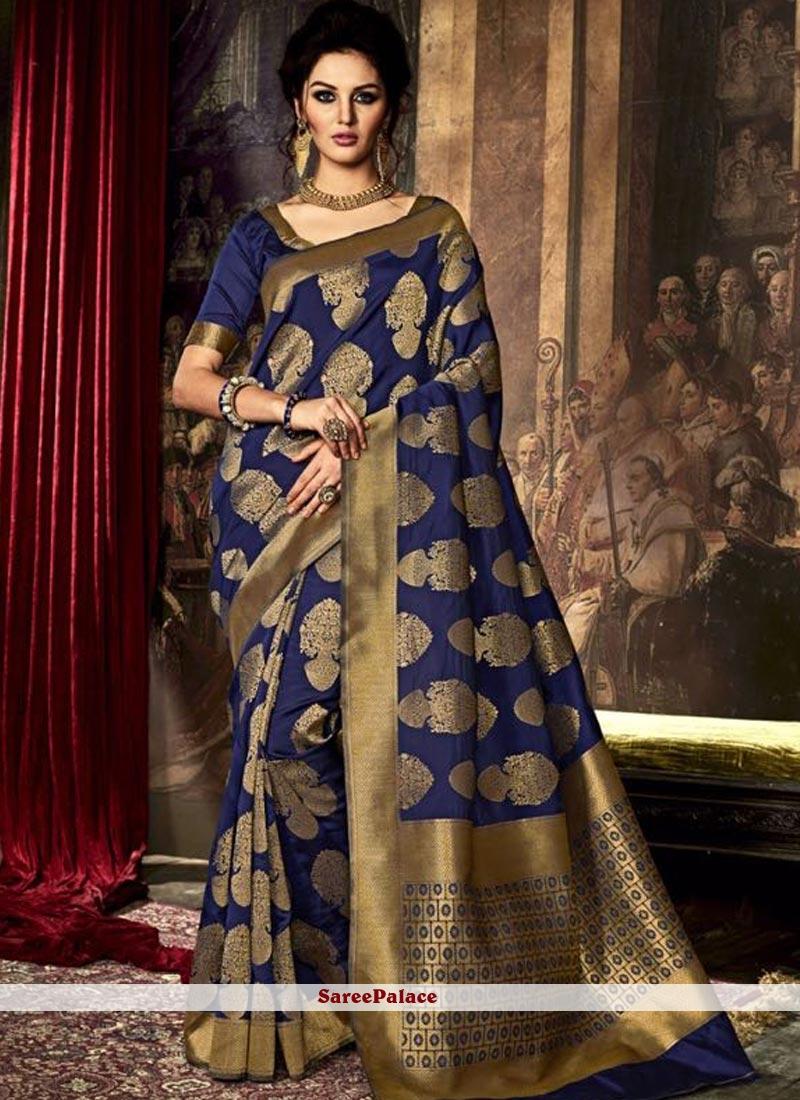 Staring Navy Blue Weaving Work Art Silk Traditional  Saree