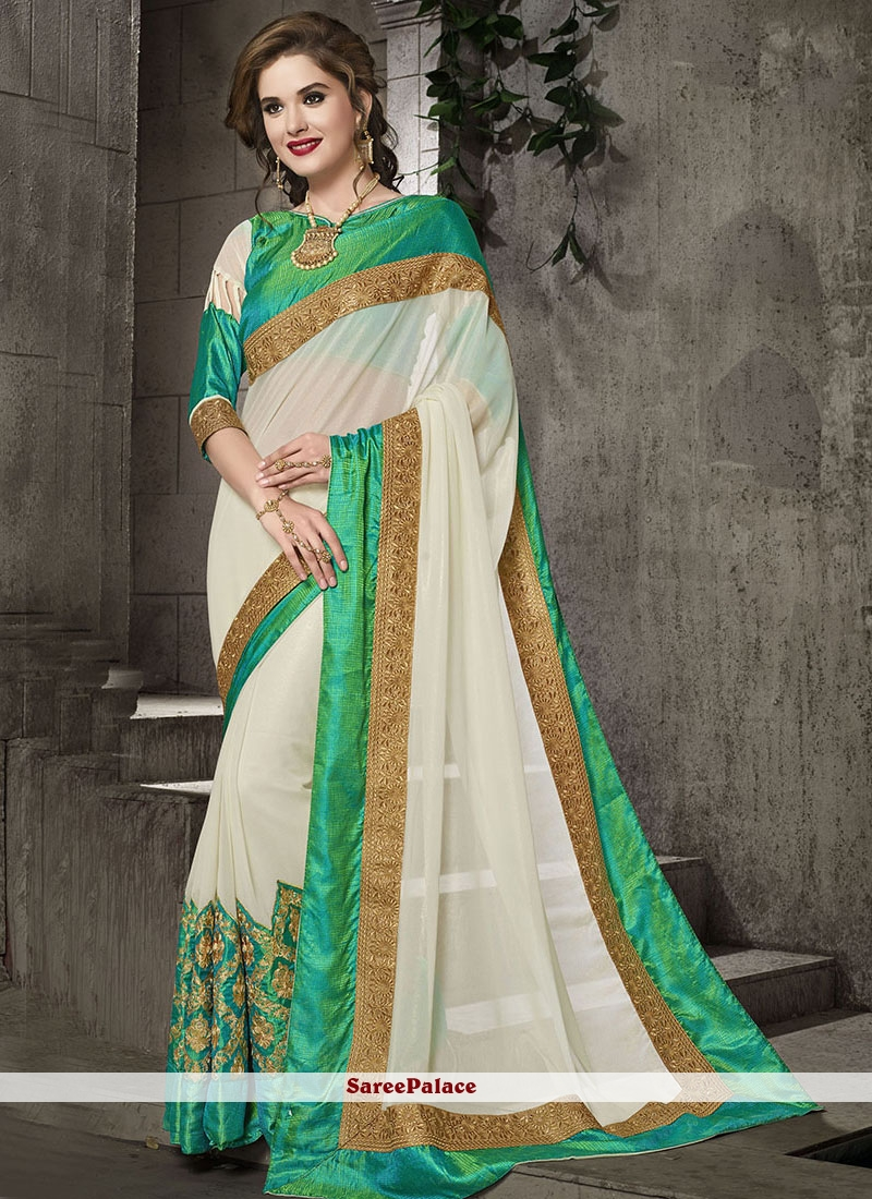 Staring Off White Embroidered Work Classic Designer Saree
