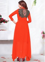 Staring Orange Anarkali Salwar Kameez