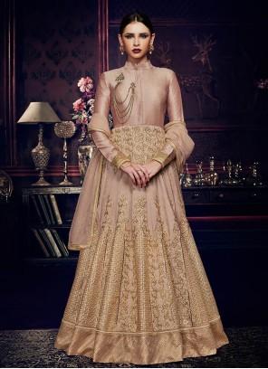 Sterling Art Silk Beige Resham Work Floor Length Anarkali Suit