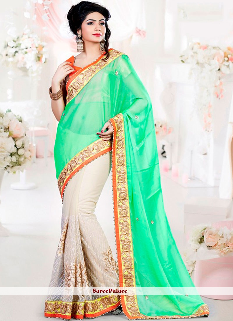 Sterling Embroidered Work Sea Green Net Classic Designer Saree
