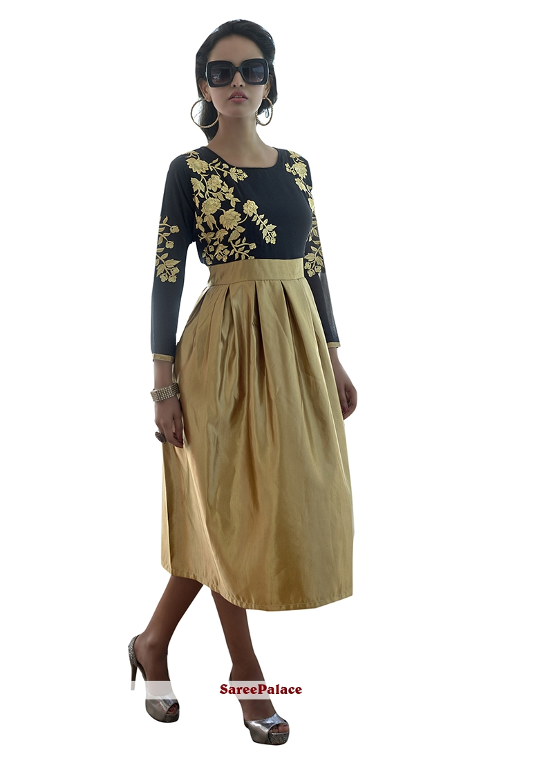 Sterling Faux Georgette Black and Gold Embroidered Work Party Wear Kurti