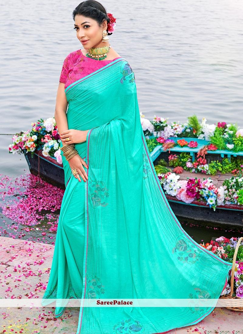 Stone Art Silk Designer Saree in Turquoise