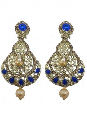 Stone Blue and Gold Ear Rings