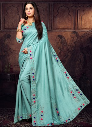 Stone Blue Classic Saree