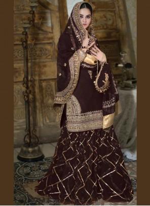 Stone Faux Georgette Designer Palazzo Salwar Suit in Brown