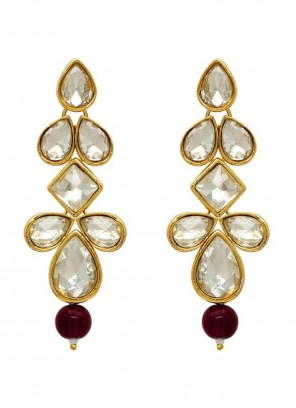 Stone Gold and Maroon Ear Rings