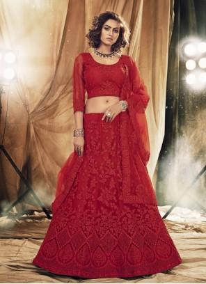 Red Stone Mehndi Lehenga Choli