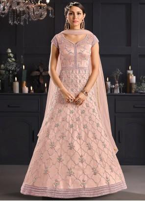 Stone Net Salwar Kameez in Pink
