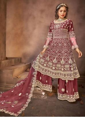 Stone Net Wine Designer Pakistani Suit