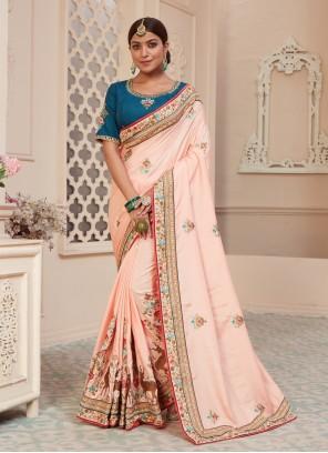 Stone Pink Traditional Designer Saree