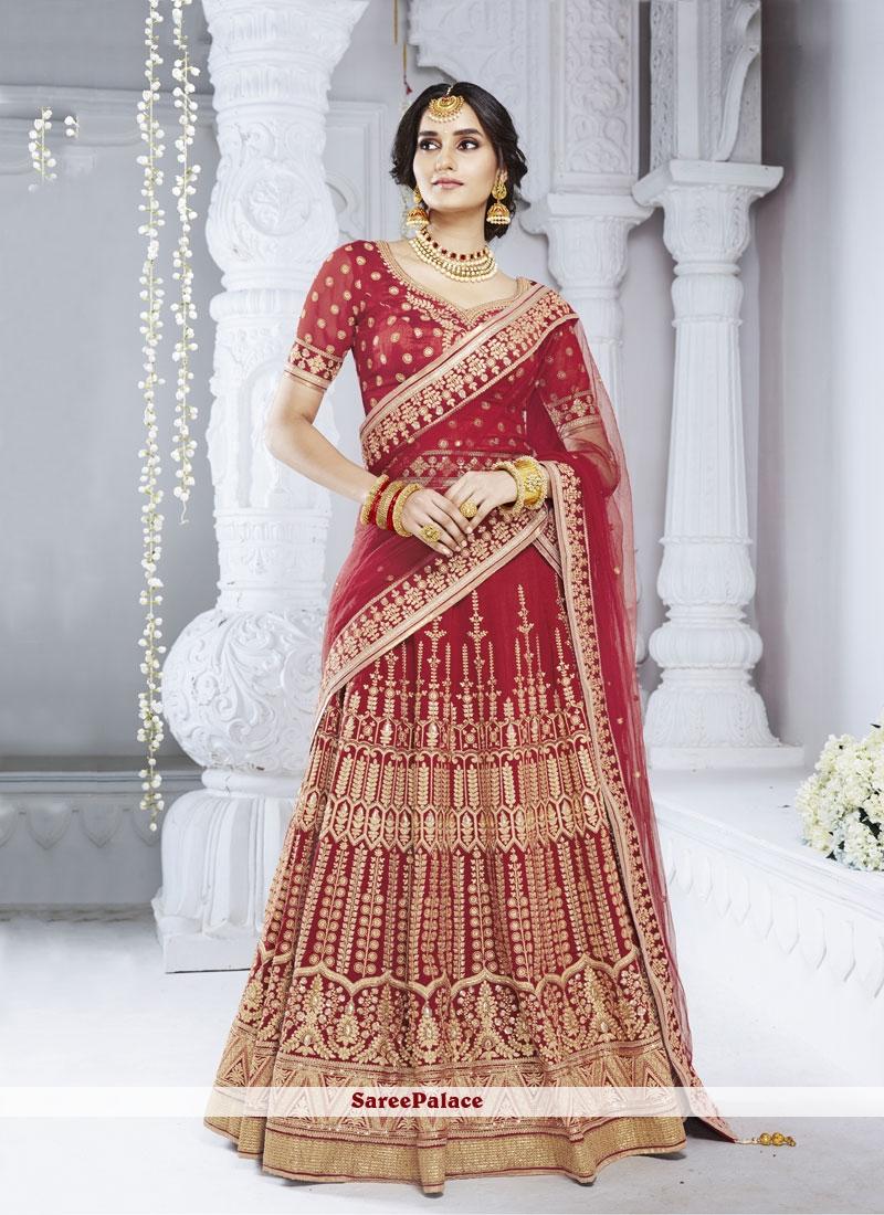 Stone Red Designer Lehenga Choli