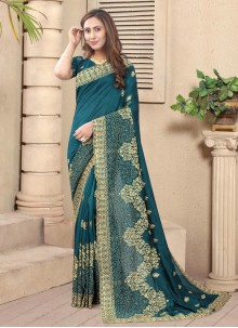 Stone Silk Teal Designer Saree
