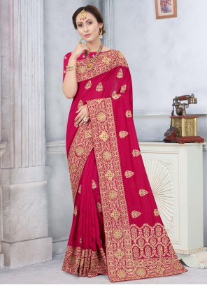 Stone Silk Designer Hot Pink Traditional Saree