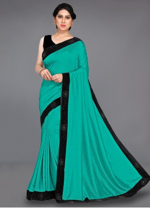 Stone Turquoise Designer Traditional Saree