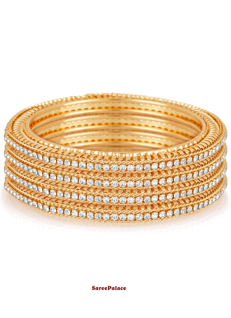 Stone Work Bangles in Gold