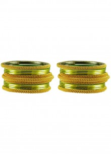Stone Work Bangles in Gold and Green