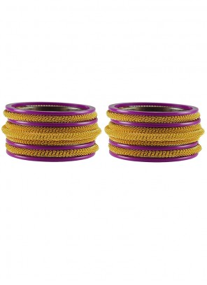 Stone Work Bangles in Gold and Purple