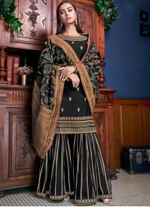 Stone Work Black Silk Palazzo Designer Suit