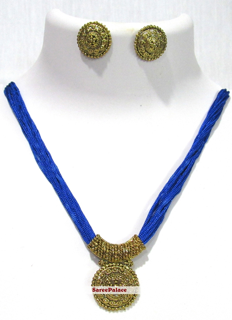 Stone Work Blue and Gold Necklace Set