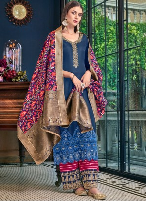 Stone Work Blue Satin Designer Palazzo Salwar Suit
