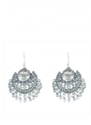 Stone Work Ear Rings in Silver
