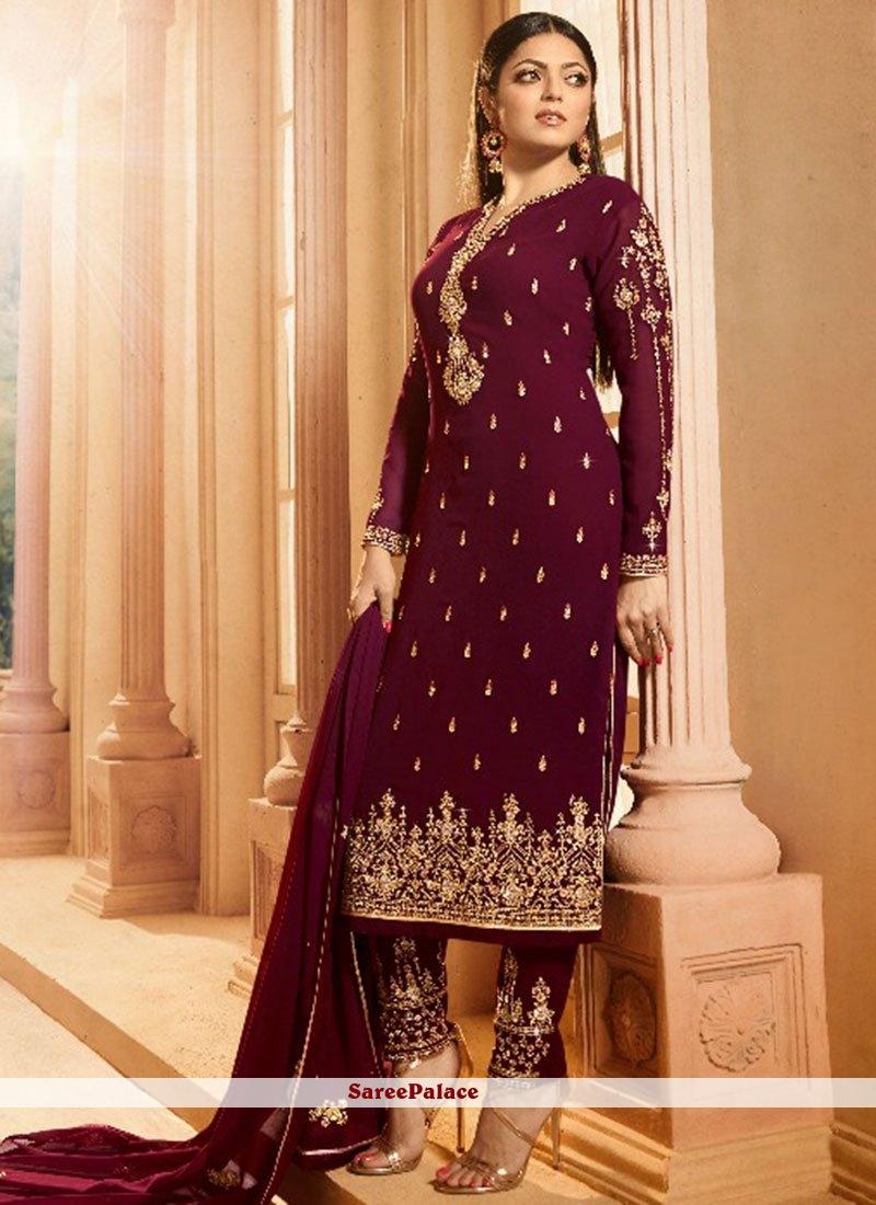371d22f60c Buy Stone Work Georgette Salwar Kameez in Maroon Online