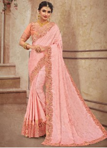 Stone Work Georgette Satin Classic Saree in Pink