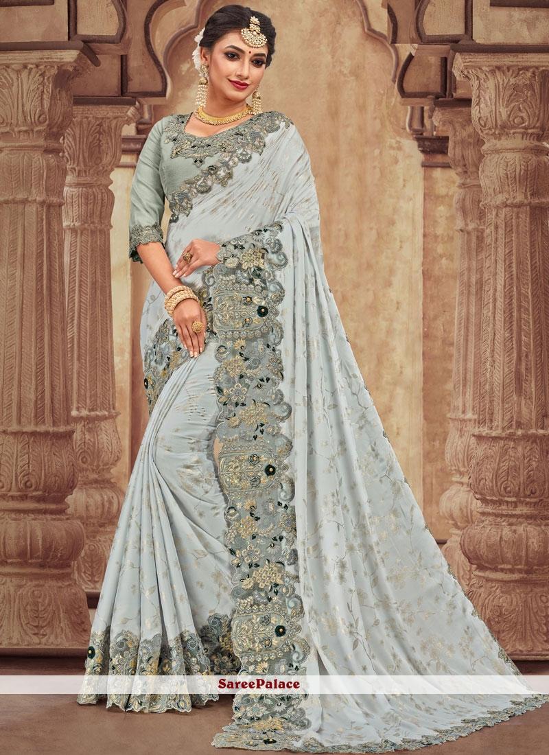 Stone Work Georgette Satin Silver Trendy Saree