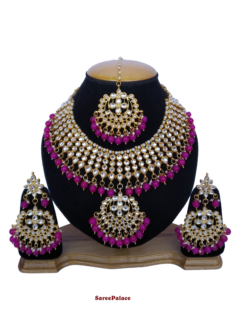 Stone Work Gold and Magenta Necklace Set