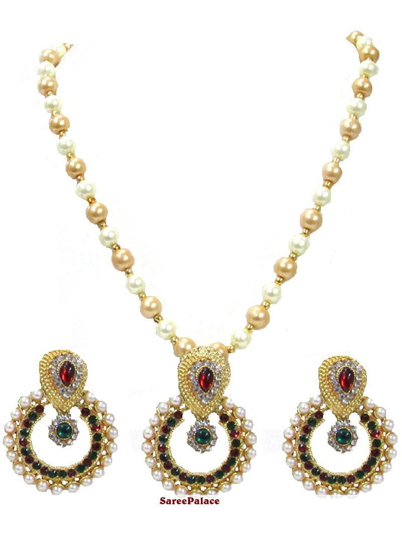 Stone Work Gold and Maroon Necklace Set