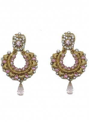 Stone Work Gold and Pink Ear Rings