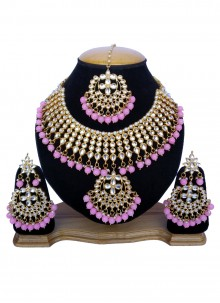 Stone Work Gold and Pink Necklace Set