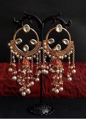 Stone Work Gold and Red Ear Rings