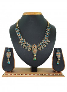 Stone Work Gold and Teal Necklace Set