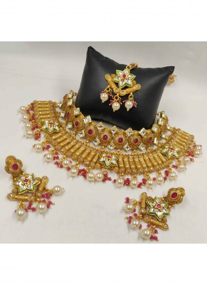Stone Work Gold Necklace Set