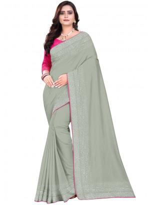 Stone Work Grey Art Silk Designer Saree