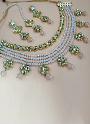 Stone Work Necklace Set in Gold and Pink