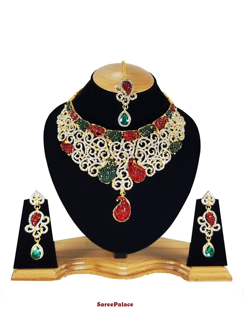 Stone Work Necklace Set in Gold, Green and Red