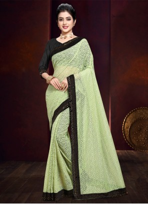 Stone Work Net Bollywood Saree in Green