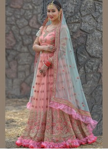 Stone Work Net Designer A Line Lehenga Choli in Peach