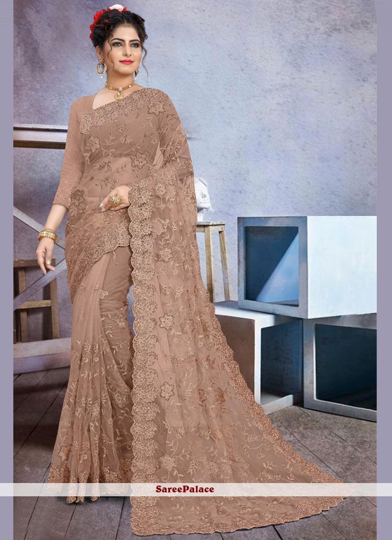 Stone Work Net Designer Saree in Brown